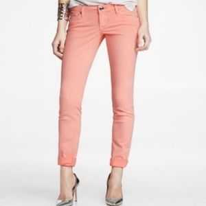 Express hot pink skinny jeans
